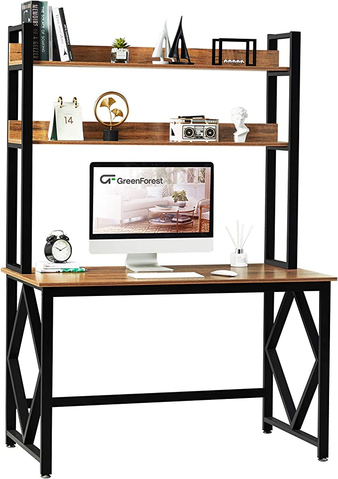 GreenForest Computer Desk with Hutch and Bookshelf 47 inches Study Writing Desk for Home and Office PC Laptop Workstation Walnut   Amazon