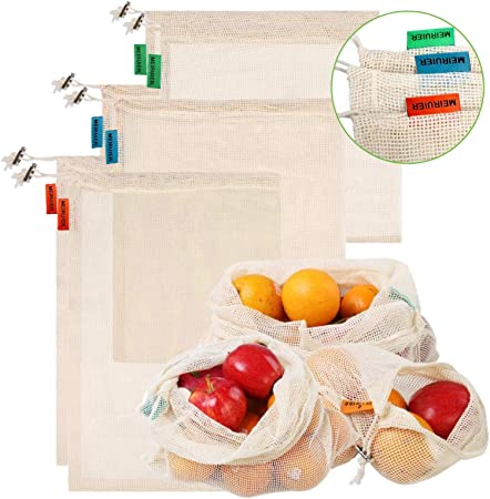 Meiruier Bolsa Reutilizable Algodon de Vegetales,Bolsa de malla lavable,Bolsas Reutilizables Compra, Bolsas de Malla Transpirables Adecuado para Frutas y Verduras Productos Frescos (6pc(2*S/2*M/2*L)): Amazon.es: Hogar