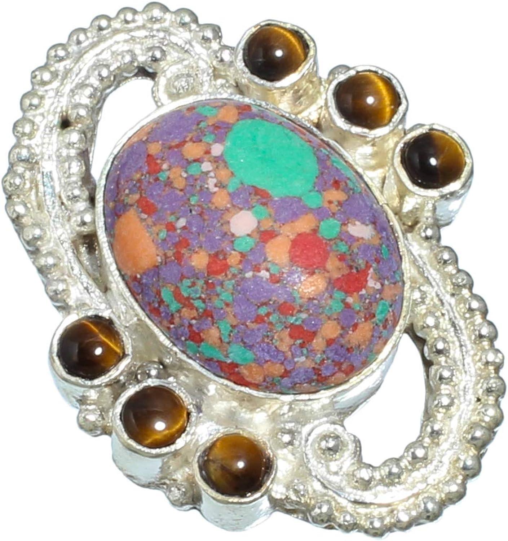 jewels paradise Anillo de Plata de Ley 925 con Piedra Preciosa de Ojo de Tigre y Turquesa Morada (SF-1864)