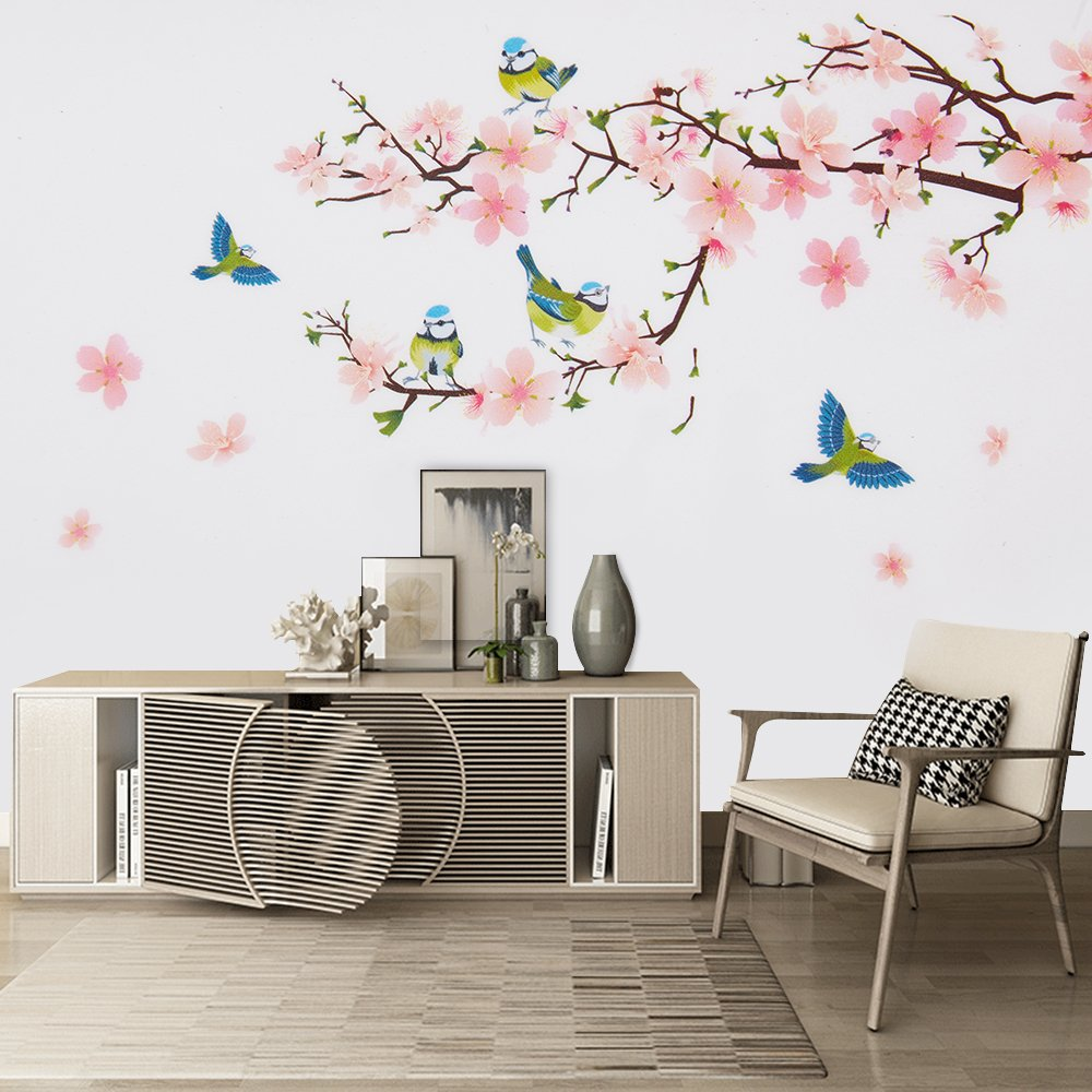 Wopeite Floral Wall Decal Sticker Self - Adhesive Flower Peach Blossom Tree Branch Instant Wall Decal Sticker for Living Room Bedroom 45 X 60 cm by Wopeite (Image #5)
