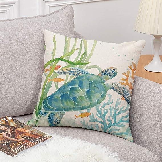 Amazon Com Set Of 4 Ocean Beach Outdoor Throw Pillow Covers Turtle Crab Seahorse Fish Decorative Sea Coastal Theme Decor Cushion Square Pillowcase 18x18 Inch Beach Pillows For Patio Couch Sofa Marine Animals Home
