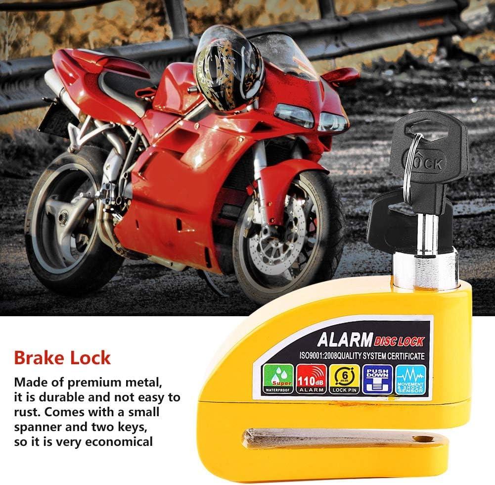 Qiilu Bloque Disque Alarme Antivol Moto En M/étal Syst/ème dalarme de s/écurit/é Disque Son dAlarme 110db avec 3 Cl/é Pour Moto V/élo