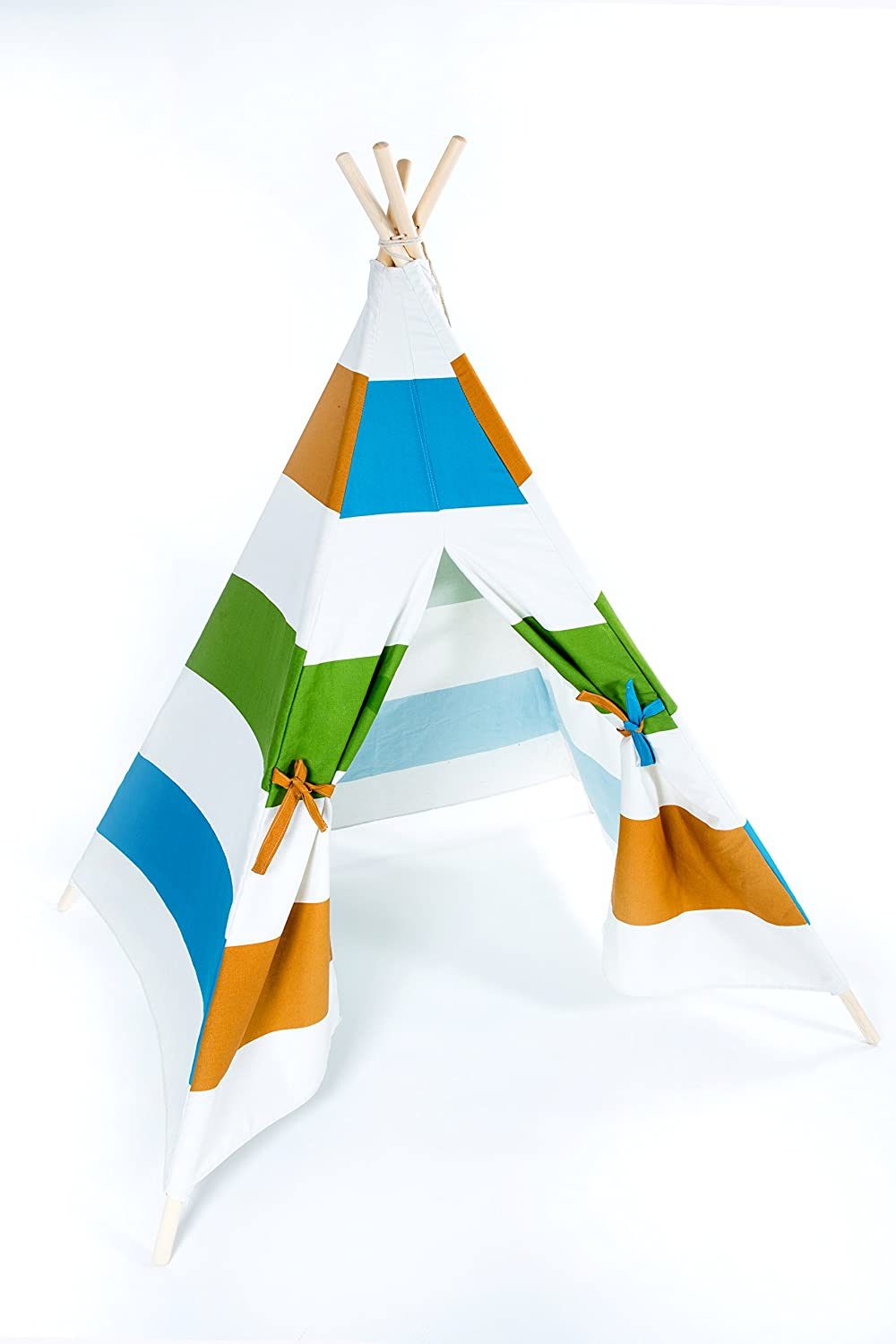 Small boy Kids Teepee Play Tents Indian Playhouse with 4 Wooden Poles 145cm