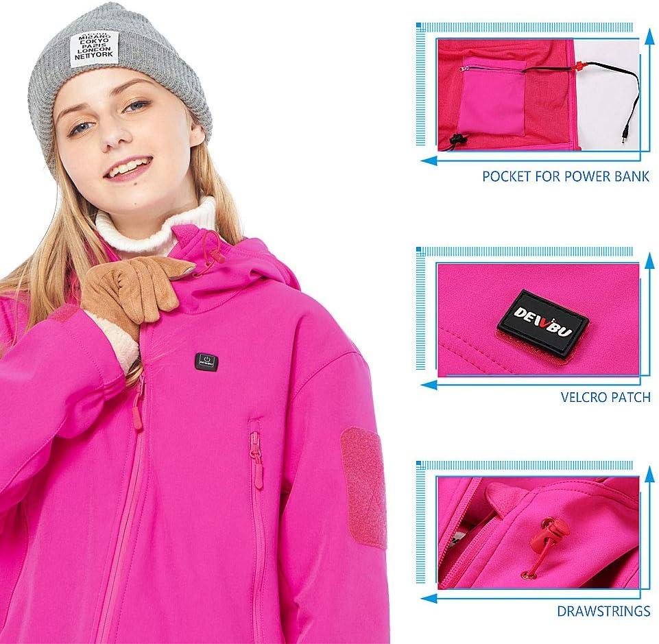 DEWBU Veste Chauffante avec Batterie 7.4V Unisexe Softshell Chauffante pour Plein Air Chasse Randonn/ée Ski P/êche