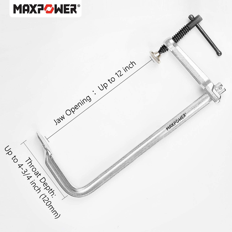 MAXPOWER Serre Joint Lot de 4 Serre-Joint /à Barres Serre-joints en F /à Visser 300 x 120 mm