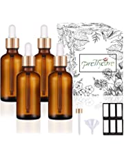 PrettyCare Eye Dropper Bottles 1oz 4 Pack (Amber Glass Bottle 30ml with Golden Caps, Extra Eye Dropper, 12 Lables & Funnel) Cosmetic Sample Container for Essential Oils, Perfume