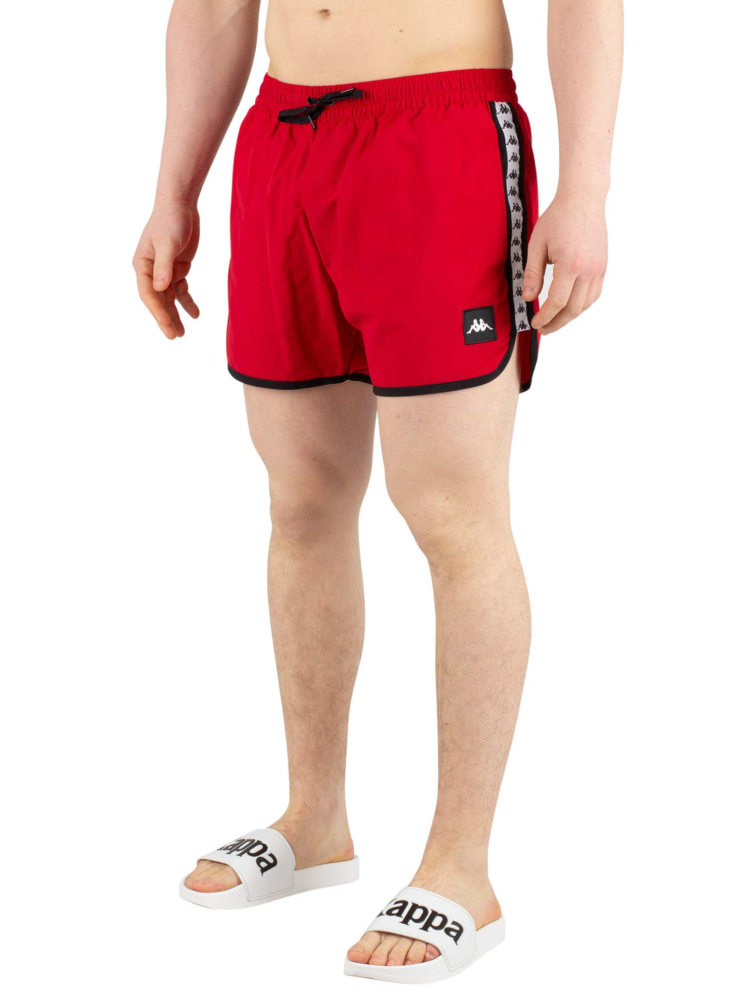 Kappa Authentic Agius Mens Swim Shorts in Red/White/Black