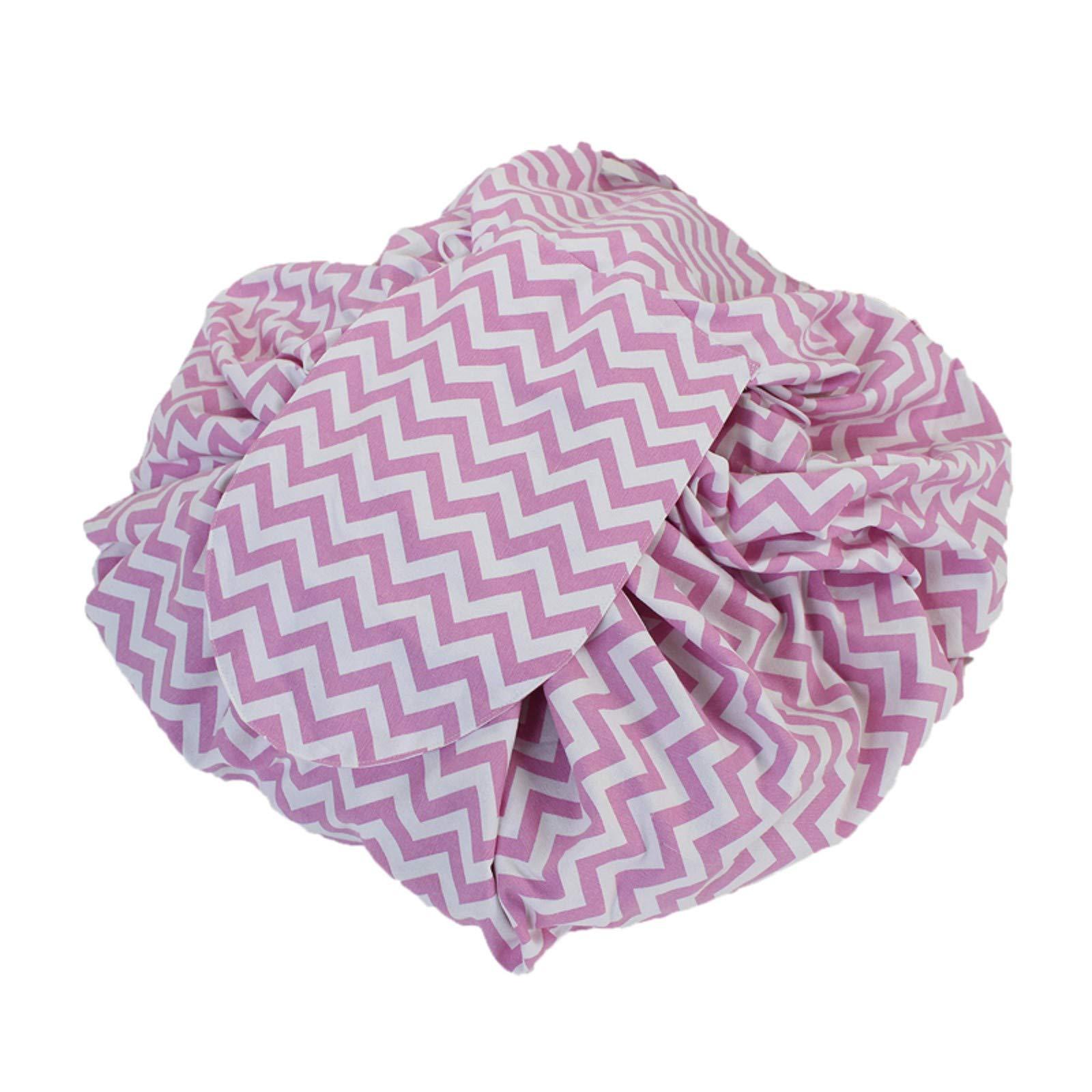 MZS Tec Kids Toys Storage Bag, Foldable Drawstring Plush Animal Stuffed Toys Bag Home Organizer Bulk Accessories (L, F Stripe Pink)