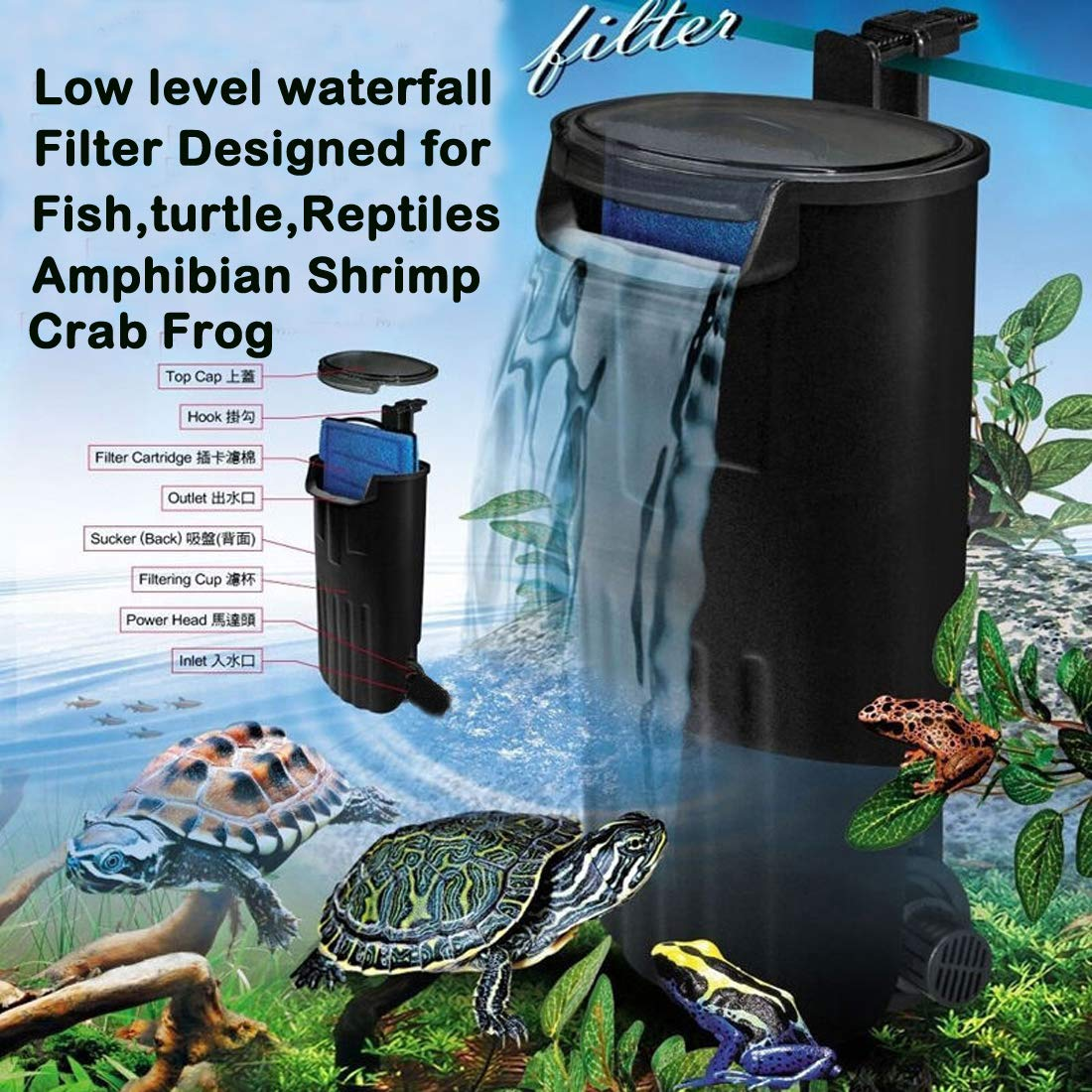 Aquarium Turtle Filter Quiet Flow Water Clean Pump Bio Filtration for Reptiles Tank Low Level Waterfall Filter for Small Fish Tank Turtle Tank Shrimp Tank Amphibian Frog Crab
