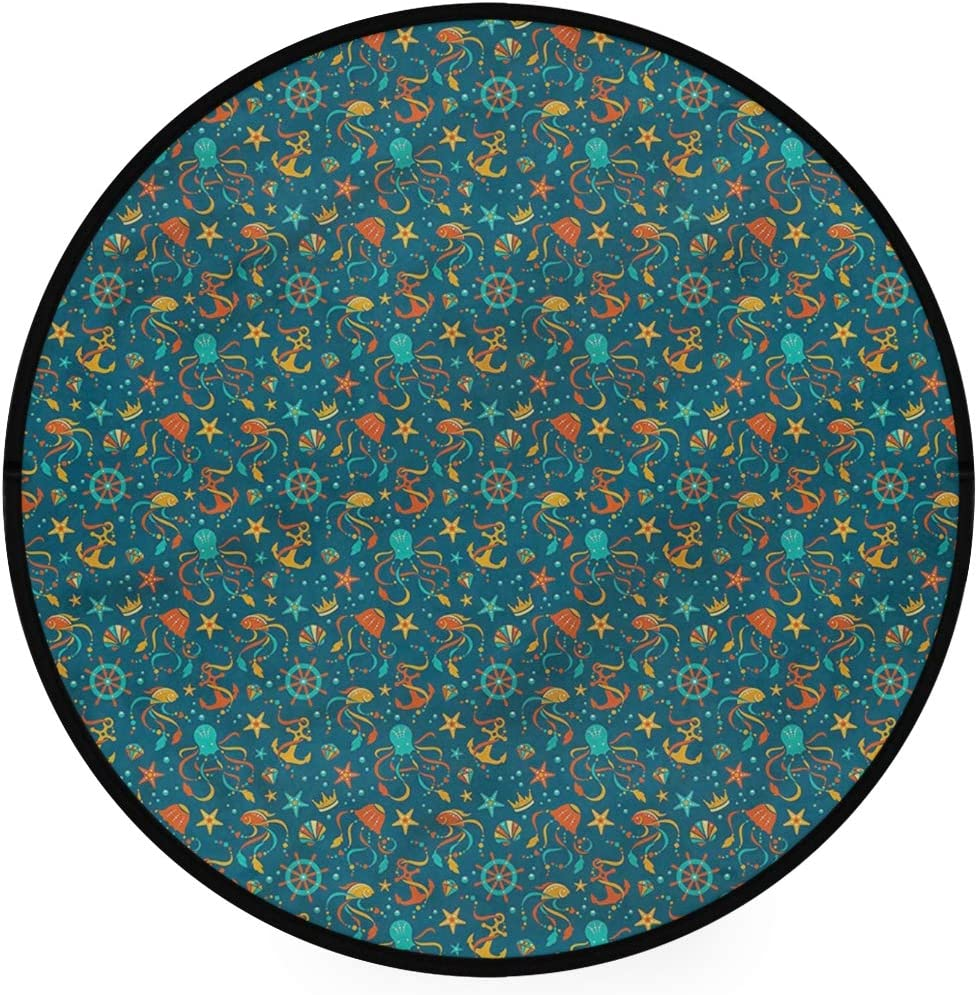 Minalo Super Soft Light Round Area Rug,Tropical Cartoon Fauna,Circle Carpet 5 Diameter