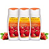 Vaadi Herbals Strawberry Scrub Lotion with Walnut Grains, 3 x 110ml