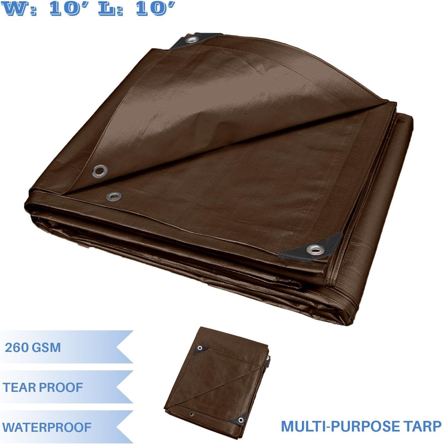 Brown E/&K Sunrise 10 x 10 Finished Size General Multi-Purpose Tarpaulin Ultra Heavy-Duty 8 oz//16-mil Poly Tarp