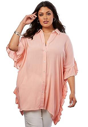 8b2f834ac8c Roamans Women's Plus Size Poncho Tunic with Ruffles - Rose Haze, ...
