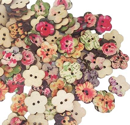 Leisial   100u0026nbsp;bottoni In Legno, Per Bricolage/lavori Di  Sartoria/hobbistica