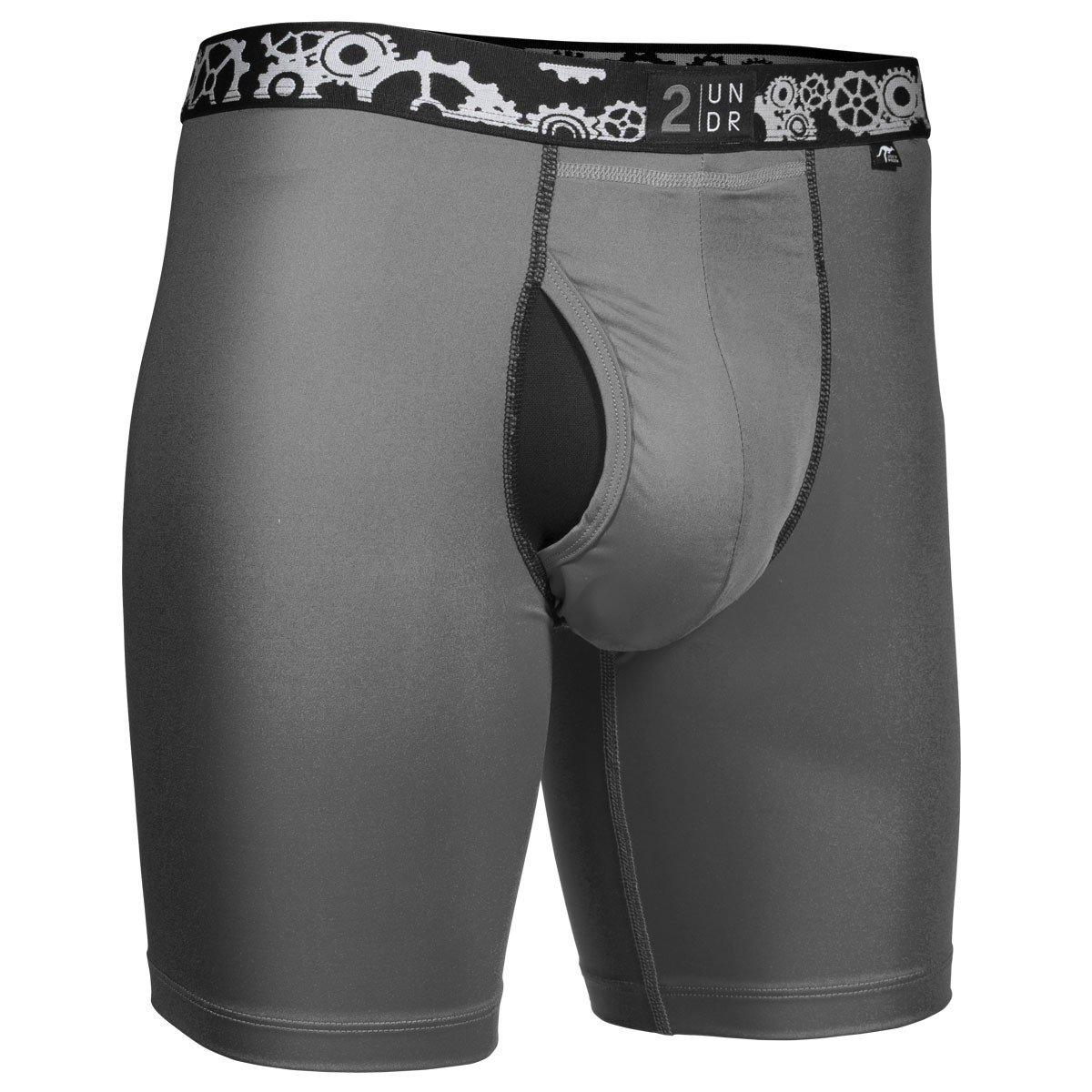 2UNDR Mens Gearshift Performance Long Leg Boxer Briefs, Cool Grey, Large