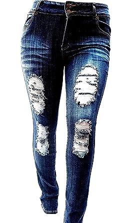 46e9af494cfeb Jack David Sweet Look Pasion Womens Plus Size Acid Wash Distressed Ripped  Blue Skinny Denim Jeans Pants Super Plus Size 14-34 at Amazon Women s Jeans  store