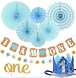 First Birthday Decoration Set for BOY- 1st Baby Boy Birthday Party, Blue Hat Crown, Circle Dots Paper Garland, Cake Topper -One, - Banner, Fiesta Blue Hanging Paper Fan Flower (Party Decorations)