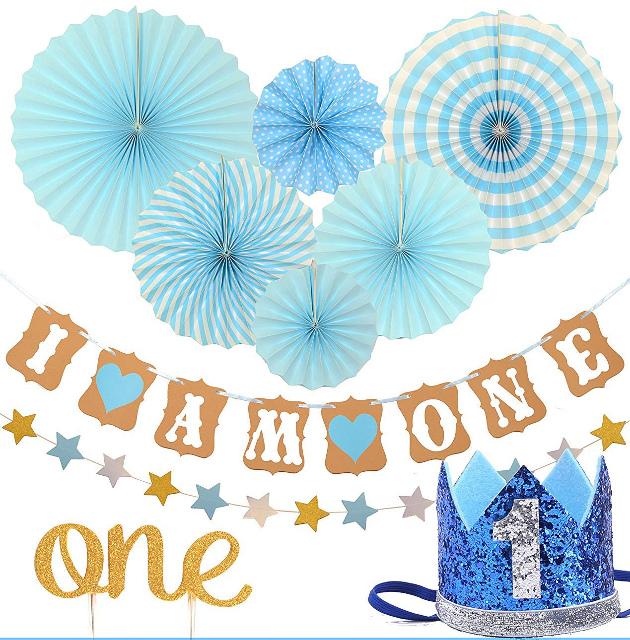 Fiesta Blue Hanging Paper Fan Flower Cake Topper -One Meant2ToBe Circle Dots Paper Garland Blue Hat Crown Cake Topper -One FIRST BIRTHDAY DECORATION SET FOR BOY- 1st Baby Boy Birthday Party Party Decorations - Banner