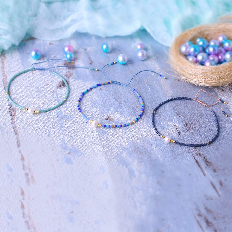KELITCH 3 Pcs Seed Beaded Bracelets Handmade Friendship Bracelets Family Strand Hand Chain Bangles (Color 02N) by KELITCH (Image #4)