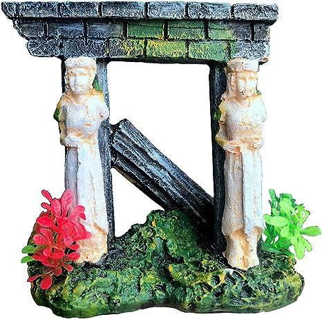 Amazon Com Xir Aquarium Decorations Roman Ruin Stone Statue Column Ornament For Fish Tank Pet Supplies