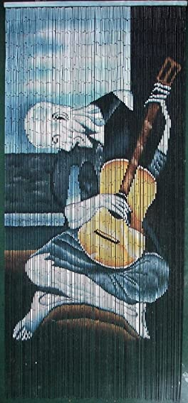 ABeadedCurtain 125 String Old Guitarist – Picasso Beaded Curtain Handmade with 4000 Beads Hanging Hardware 38 More Strands and Beads