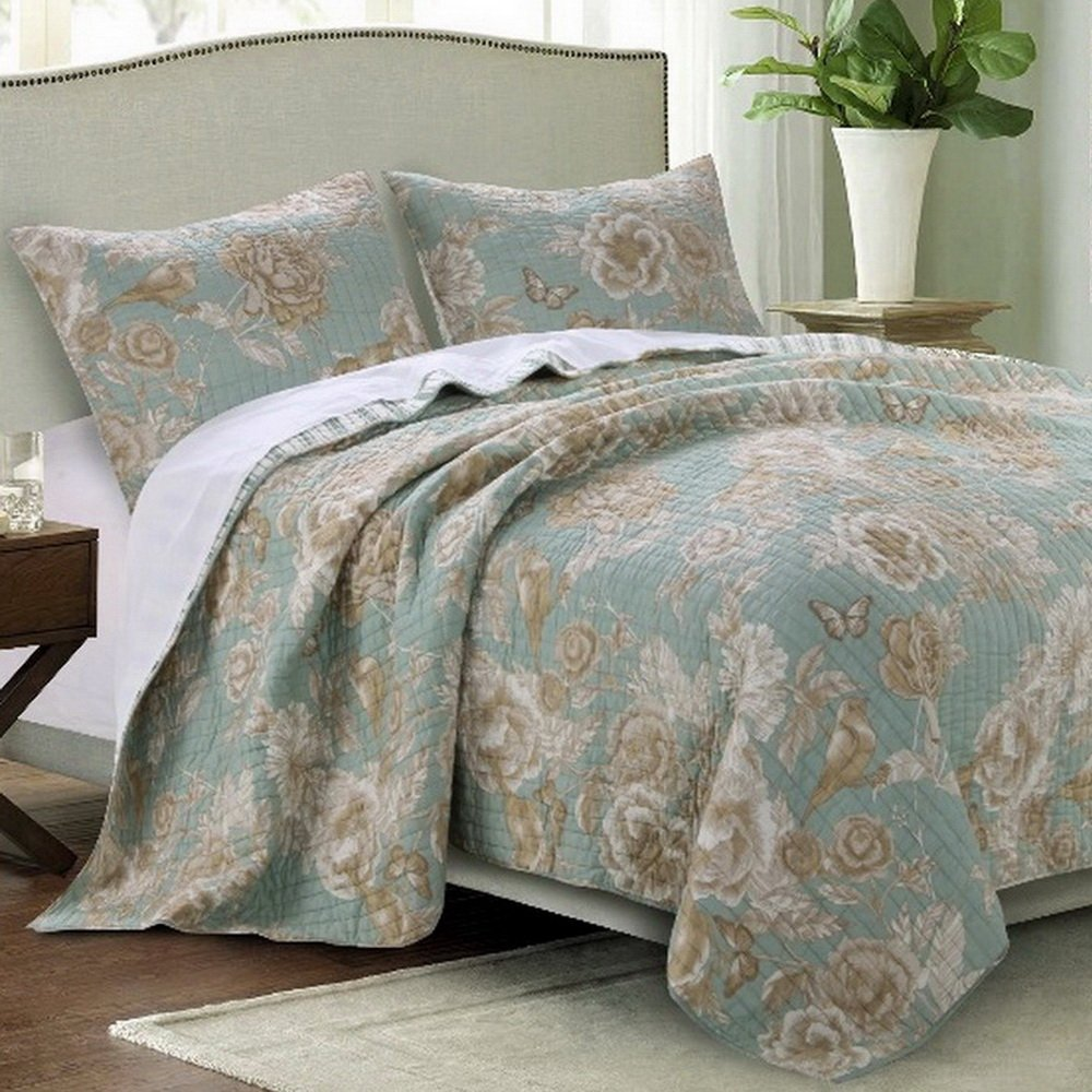 Quilt Set with Shams 3 Piece Chic Cottage Garden Flowers Birds Butterflies Print Pattern Spa Green Taupe Bedding Luxury Reversible Bedspread Double Bed Full/Queen Size - Includes Bed Sheet Straps