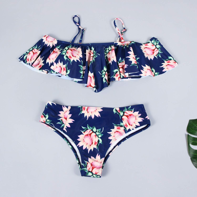 3359f2d9f9d Amazon.com: Padded Push-up Bra Bikini Baby Girls Two Pieces Swimsuit Ruffle  Falbala Swimwear Bathing Suits: Clothing