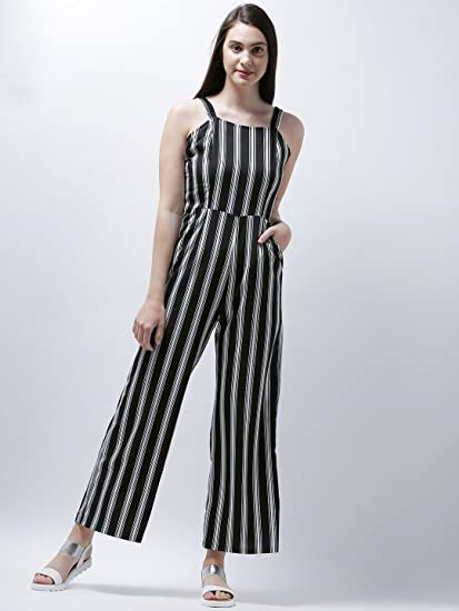 2bd898bd84e Zastraa Black   White Striped Long Jumpsuit  Amazon.in  Clothing    Accessories