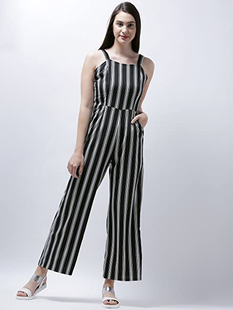 57b6dabc3d69 Zastraa Black   White Striped Long Jumpsuit  Amazon.in  Clothing    Accessories