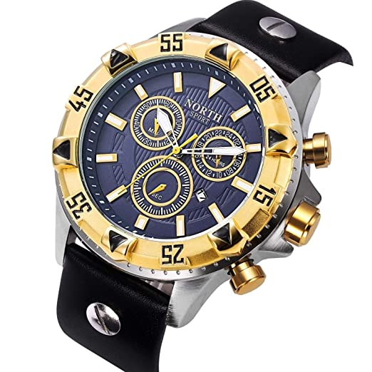SJXIN Reloj Elegante Reloj Reloj Grande y Reloj de Cuarzo de los Hombres de Europa y los Estados Unidos Reloj Creativo de una Mano Relojes de Moda (Color ...