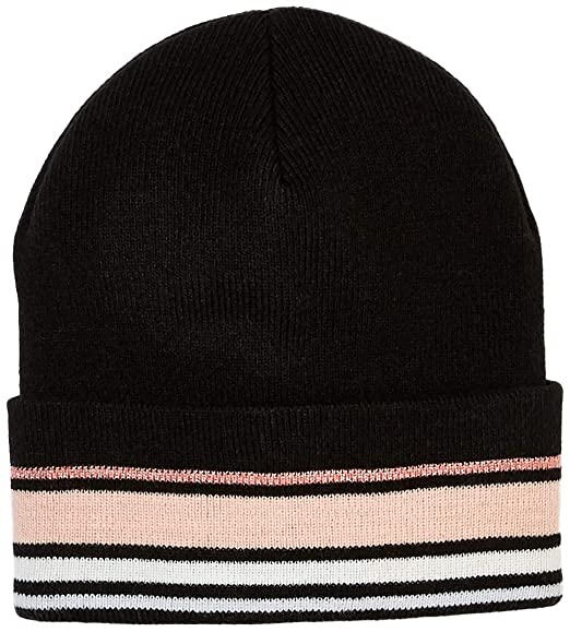 fd60d7866be Image Unavailable. Image not available for. Color  Under Zero Women s Black  Pink Striped Acrylic Knit Beanie Skullies Hat