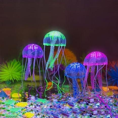 4 x acuario Decoración de medusas Glowing efecto Fish Tank artificial adorno