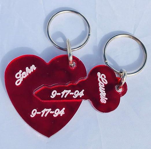 Key To My Heart Key Chain Personalized Acrylic Mirror Heart Keychain Customized