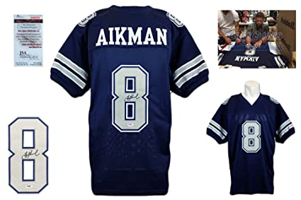 wholesale dealer 17831 7d92a Troy Aikman Signed Custom Jersey - JSA Witnessed - Autographed - Navy TB