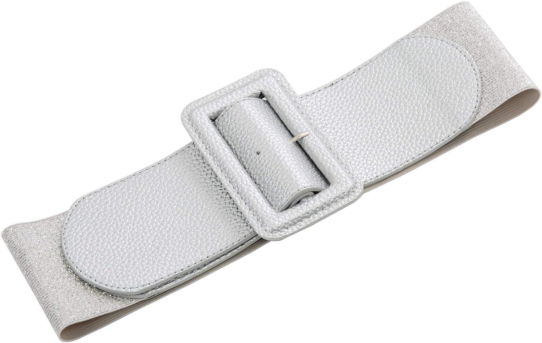 GRACE KARIN Donna Casual Cintura Vita Alta Moda PU Cintura Elastica in Regolabile