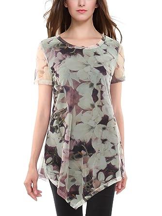 673dd52097f BaiShengGT Femme T-Shirt en Mousseline de Soir Imprime Floral Tunique D Ete  Abricot