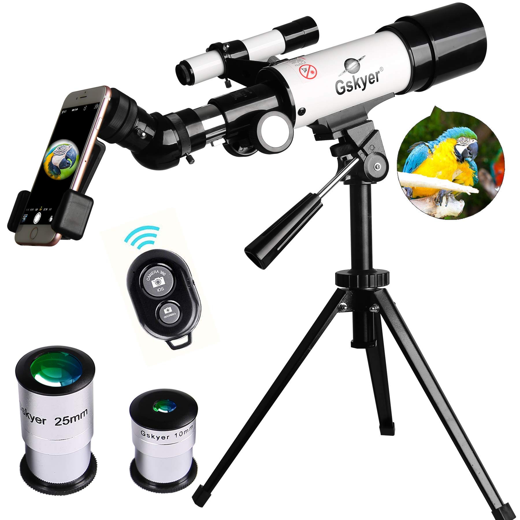 Gskyer AZ60350 Travel Refractor Astronomy Telescope with Wireless Remote Control by Gskyer