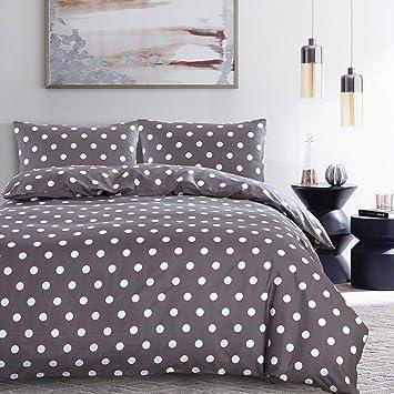 Blue Polka Dot Quilt Duvet Cover Bedding Set White Grid Bed Sheet Queen King