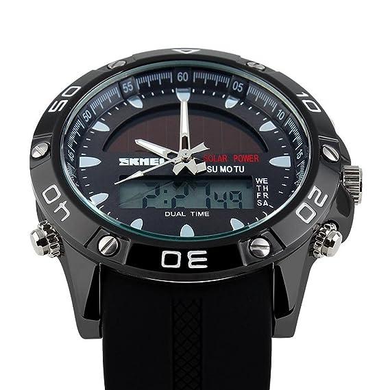 Skmei 1064 Hombres deporte al aire libre relojes Dual Time Display Reloj Solar 50m resistente al agua (Negro): Amazon.es: Deportes y aire libre