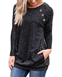 LEANI Womens Casual Short Sleeve Button Decor T-Shirt Tunic Top Summer Solid Color Blouse