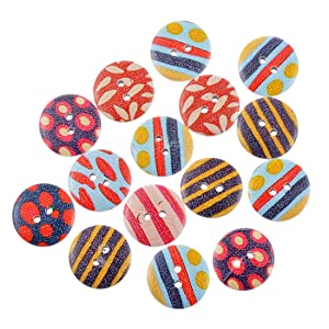 Souarts Random Mixed Stripe Round 2 Holes Wood Wooden Buttons for Sewing Scrapbook DIY 20mm 50pcs