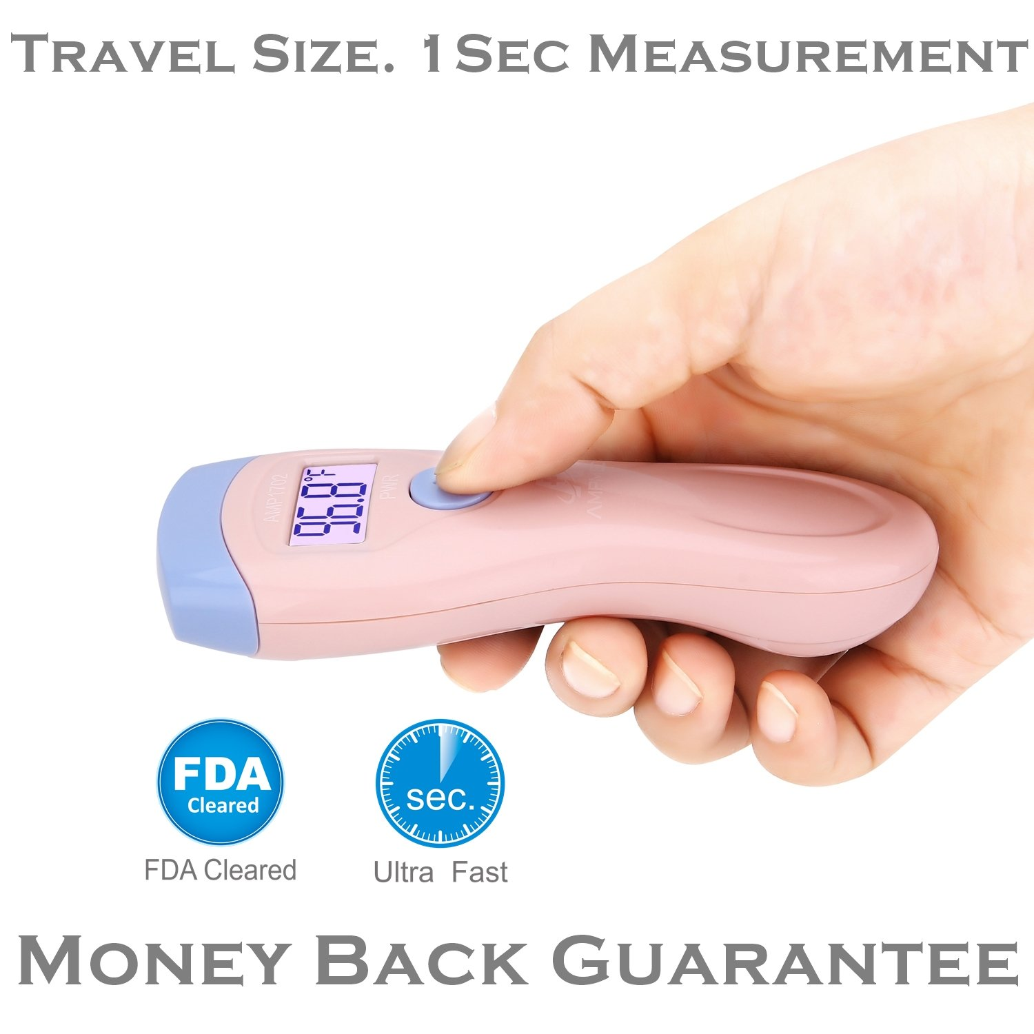 Amplim CE FDA Approved Medical Hospital Grade Non Contact Infrared Forehead Thermometer. Best New Baby/Kid/Infant/Toddler/Child/Adult/Professional/Clinical Digital No Touch Travel Fever Thermometer