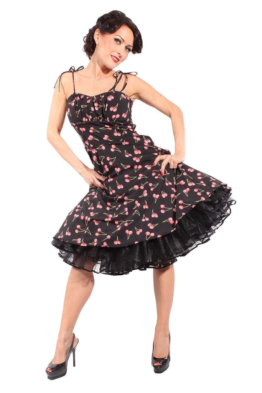 SugarShock Damen Cherry rockabilly retro Kirschen Sommer Swing Träger Kleid Petticoatkleid