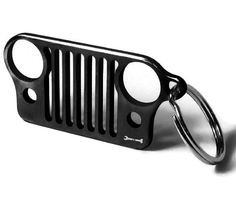 ジープオーナー向けグリルキーホルダー レーザーカット304ステンレススチール、錆びない、曲がらない、折れない!レンチ&ボーン社製。 CJ ブラック WB B07CPQT2QX  ブラック CJ