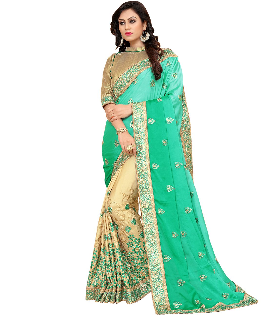 Indian Ethnic Faux Crepe Sea Green And Beige Half And Half Saree