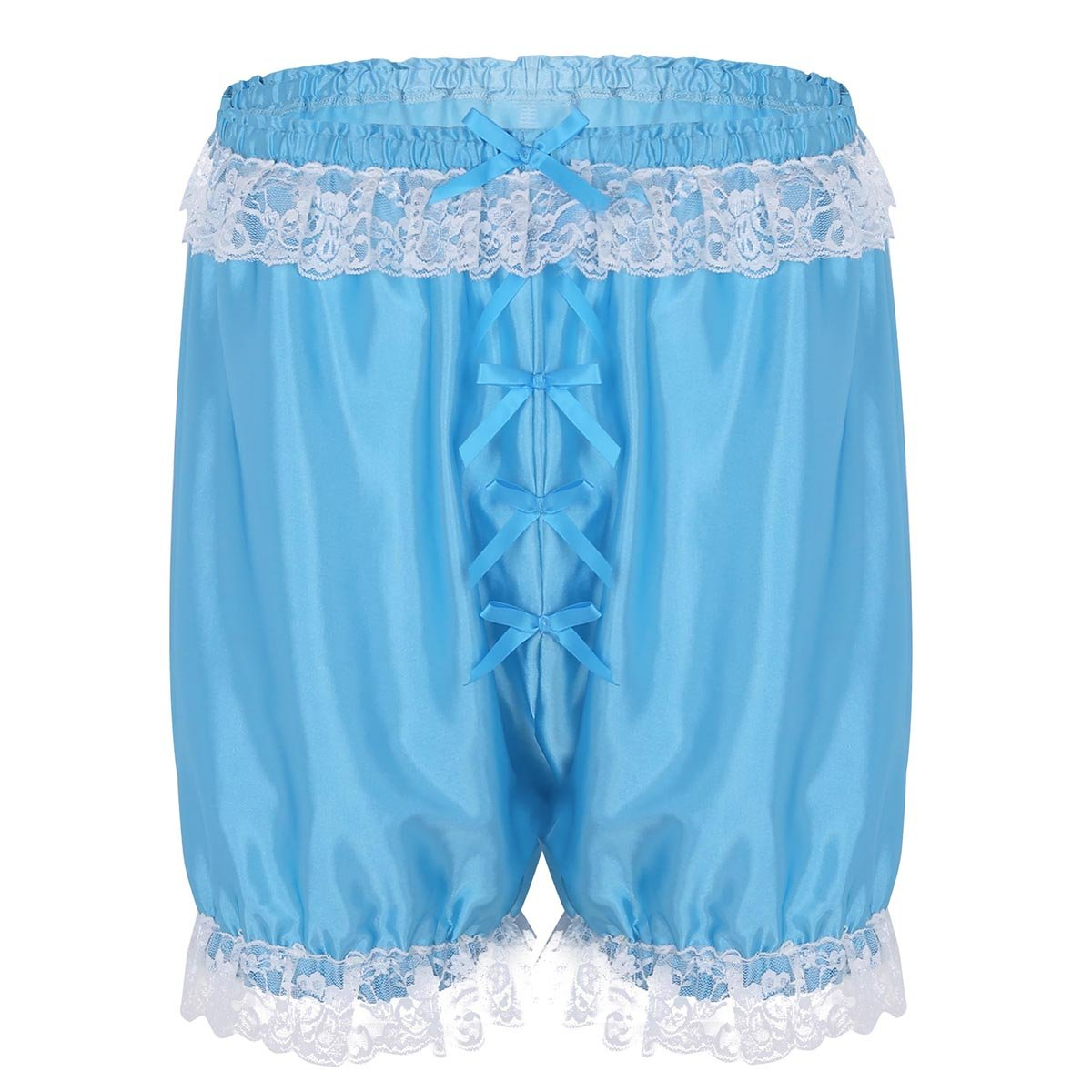 iEFiEL Mens Soft Stretchy Satin Effect Sissy Bloomers Knickers Panties Lace Sleep Boxer Briefs Shorts Pants
