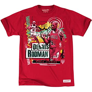 Mitchell & NESS CHICAGO BULLS Dennis Rodman tailored player NBA T-Shirt rojo Rojo rojo