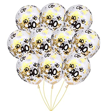 MeySimon 40th Birthday Decorations 15pcs Clear Balloons With Gold Confetti Filled Printed 40 Latex Balloon For