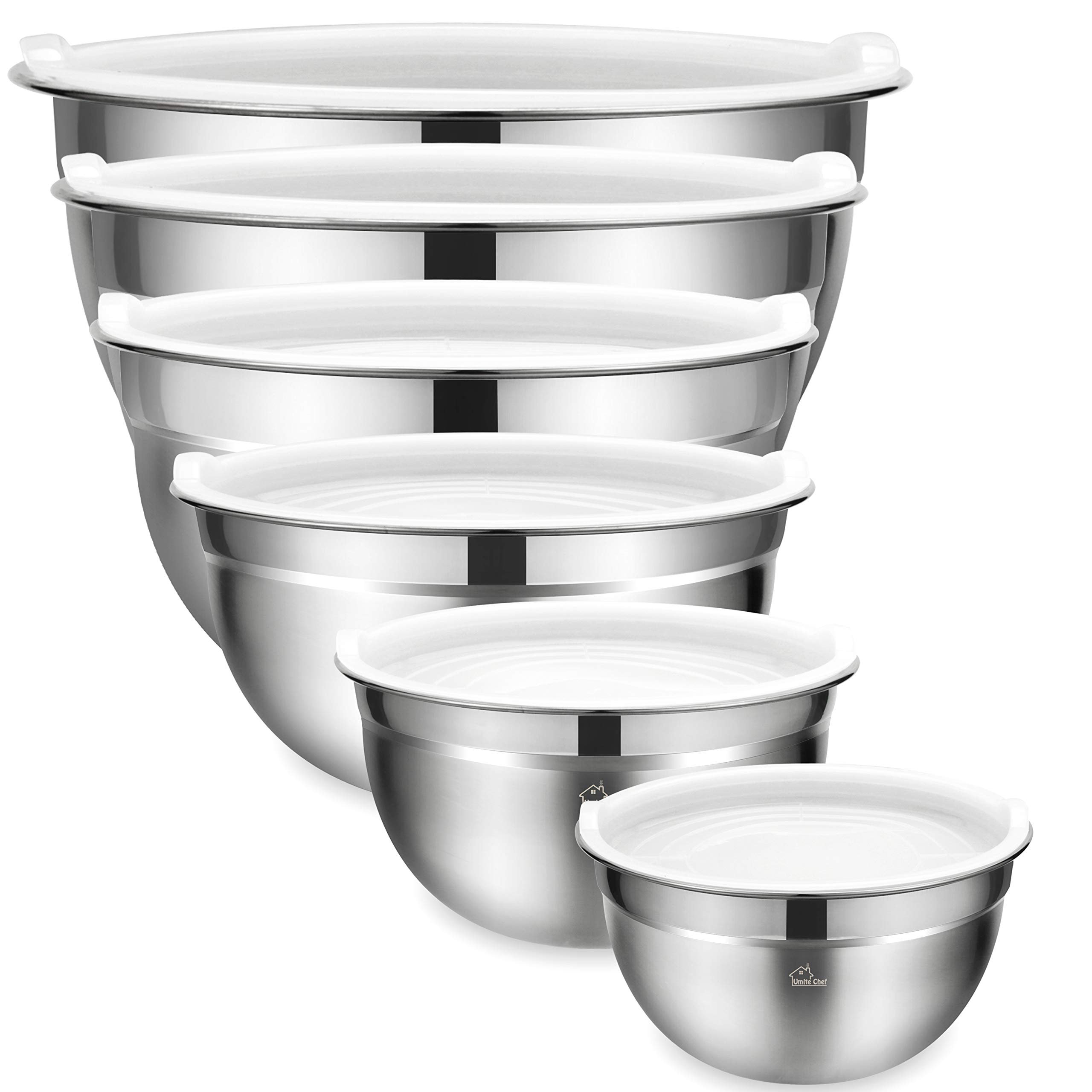 Mixing Bowls Set of 6, Premium Stainless Steel Mixing Bowl with Airtight Lids by Umite Chef, Great for Mixing, Beating Bowls Nesting & Stackable for Convenient Storage
