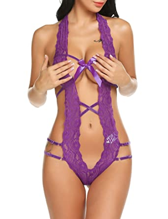 6e26fa396ff Gladiolus Women s Teddy Lingerie Outfits Plunging One Piece Lace Babydoll  Bodysuit Purple S